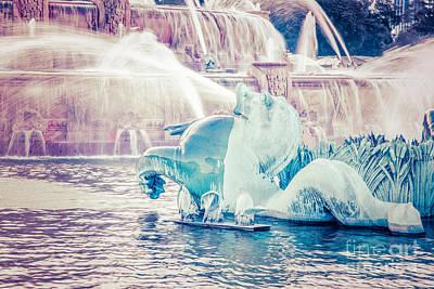 Chicago Buckingham Fountain Seahorse Retro Picture Poster