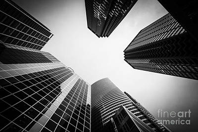 Chicago Buildings In Black And White Poster by Paul Velgos
