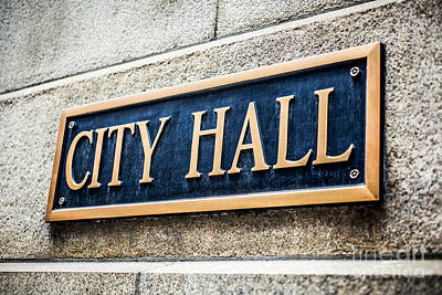 Chicago City Hall Sign Poster by Paul Velgos