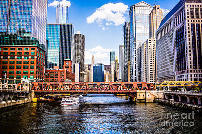 Chicago Cityscape At Wells Street Bridge Poster by Paul Velgos