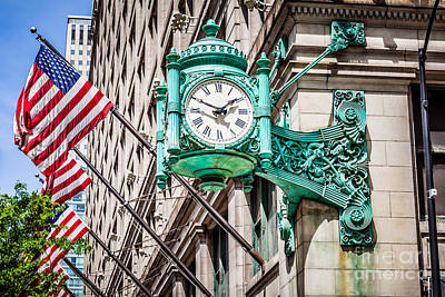 Chicago Clock On Macy's Marshall Field's Building Poster by Paul Velgos