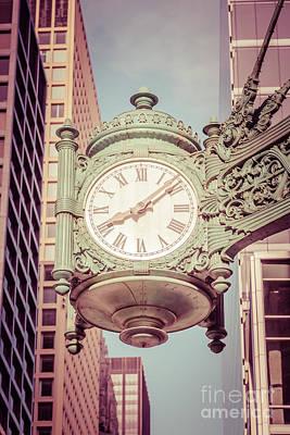 Chicago Clock Retro Photo Poster