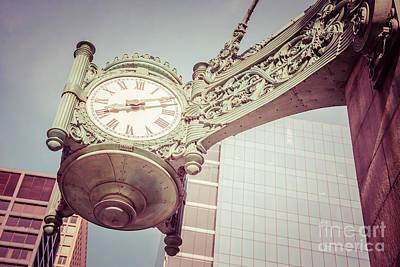 Chicago Clock Vintage Photo Poster