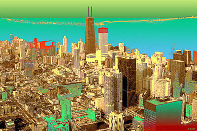 Chicago Pop Art 69 - Blue Green Red Yellow Poster by Art America Gallery Peter Potter
