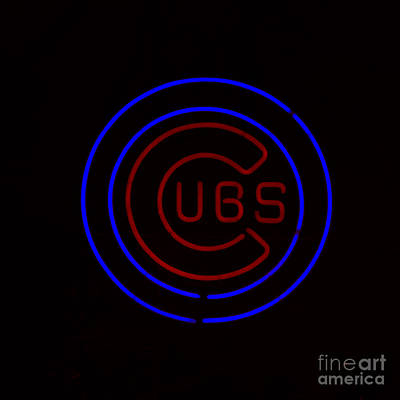 Chicago Cubs Neon Sign Poster by Emily Kay