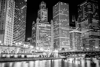 Chicago Downtown At Night Black And White Picture Poster by Paul Velgos