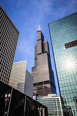 Chicago Downtown City Buildings With Willis-sears Tower Poster by Paul Velgos