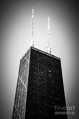 Chicago Hancock Building In Black And White Poster by Paul Velgos
