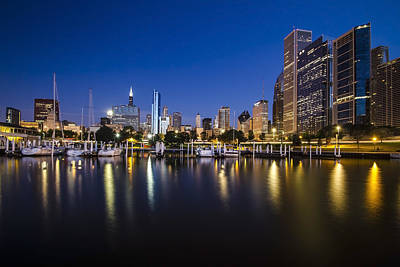 Chicago Harbor And Skyline At Dawn Poster