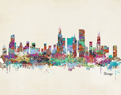 Chicago Illinois Skyline Poster by Bri B