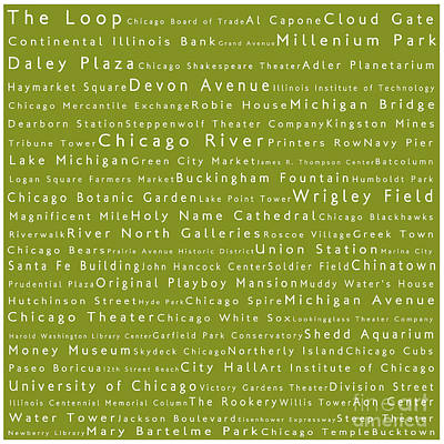 Chicago In Words Olive Poster by Sabine Jacobs