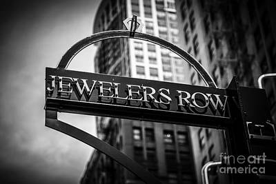 Chicago Jewelers Row Sign In Black And White  Poster