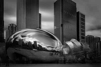 Cloud Gate Aka Bean In Black And White Poster by Jonas Luis