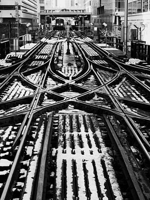 Poster featuring the photograph Chicago 'l' Tracks Winter by Kyle Hanson