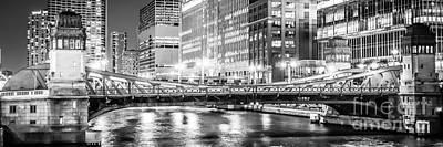Chicago Lasalle Street Bridge At Night Panorama Photo Poster
