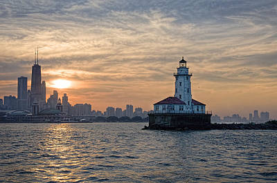 Chicago Lighthouse And Skyline Poster