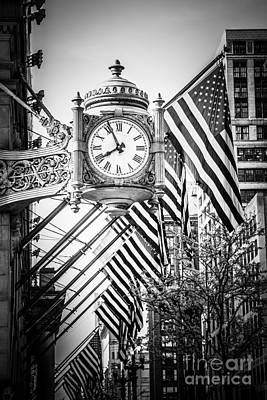 Chicago Macy's Clock In Black And White Poster by Paul Velgos