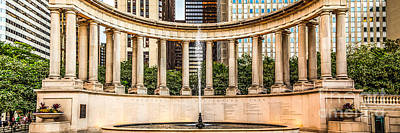 Chicago Millennium Monument Wrigley Square Panorama Photo Poster by Paul Velgos