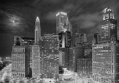 Chicago Moonlight Poster by Jeff Lewis