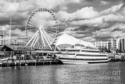 Chicago Navy Pier Black And White Photo Poster