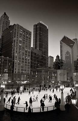 Chicago Park Skate Bw Poster by Steve Gadomski