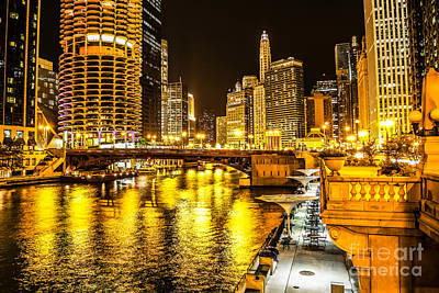 Chicago River Architecture At Night Picture Poster by Paul Velgos