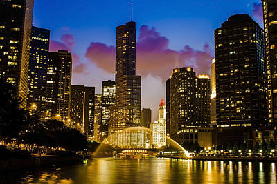 Chicago River Dusk Scene Poster