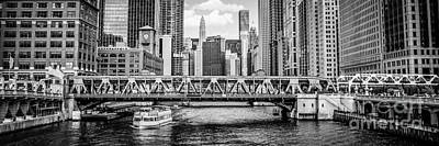 Chicago River Panorama Black And White Picture Poster