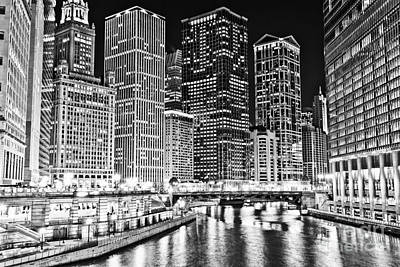 Chicago River Skyline At Night Black And White Picture Poster by Paul Velgos