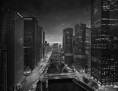 Chicago River Sunset B W Poster by Steve Gadomski
