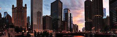 Chicago River Sunset Pano 001 Poster by Lance Vaughn