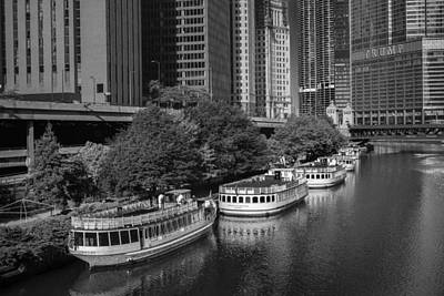 Chicago River Tour Boats B W Poster by Steve Gadomski