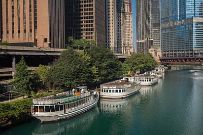 Chicago River Tour Boats Poster by Steve Gadomski