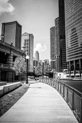 Chicago Riverwalk Black And White Picture Poster by Paul Velgos