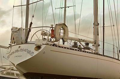 Chicago Sailboat In Muskegon Drydock Storage Poster by Rosemarie E Seppala