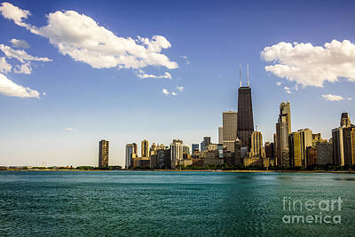Chicago Skyline And Chicago Lakefront Poster by Paul Velgos
