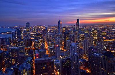 Chicago Skyline At Dusk From John Hancock Signature Lounge Poster