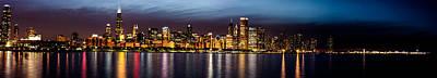 Chicago Skyline At Night Panoramic Poster