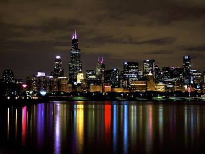 Chicago Skyline At Night Poster by Ryan Bank