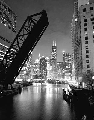 Chicago Skyline - Black And White Sears Tower Poster