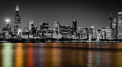 Chicago Skyline - Black And White With Color Reflection Poster by Anthony Doudt