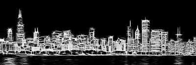Chicago Skyline Fractal Black And White Poster by Adam Romanowicz