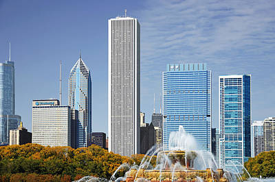 Chicago Skyline From Millenium Park Iv Poster
