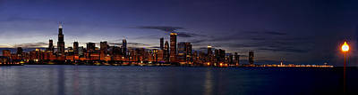 Chicago Skyline From The Lake Poster by Andrew Soundarajan