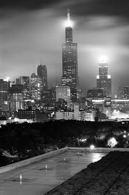 Chicago Skyline From The Rooftop - Black And White Poster