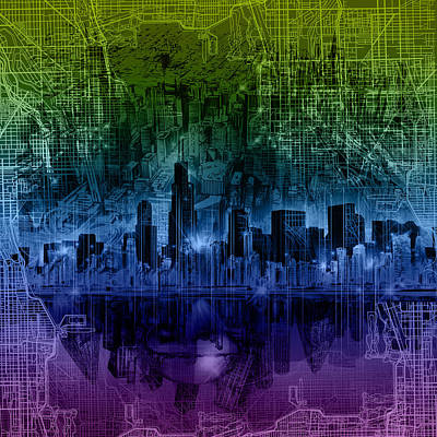 Chicago Skyline Gradient Version Poster