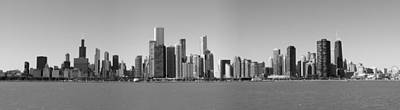 Chicago Skyline In Shades Of Grey Poster