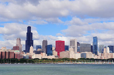 Chicago Skyline Over Lake Michigan Poster