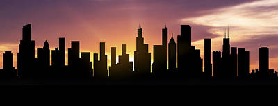 Chicago Skyline Panorama Sunset Poster by Aged Pixel