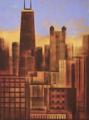 Chicago Skyline Sunset - In Neutral Tones Poster by Joseph Catanzaro